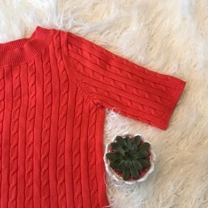 Talbots Coral Red S/S Sweater